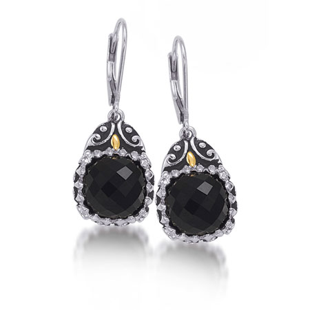 Faceted Black Onyx And Sterling Silver Rustic Earrings With 14k Gold Accent
