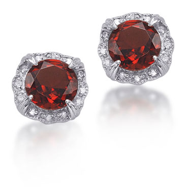 1.64 Carat Garnet and Diamond Antique-Style Sterling Silver Stud Earrings
