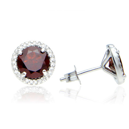 2.40 Carat Garnet and Diamond Halo Studs in Sterling Silver