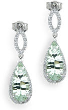 4.95 Carat Green Amethyst and Diamond Drop Earrings in Sterling Silver