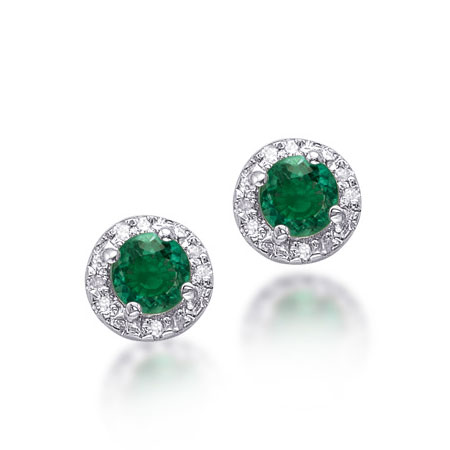 Green Emerald and Diamond Halo Earrings in Sterling Silver