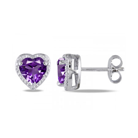 Heart-Cut Amethyst and Diamond Halo Stud Earrings in Sterling Silver