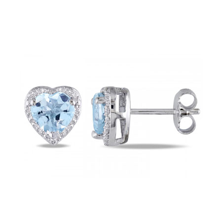 Heart-Cut Blue Topaz and Diamond Halo Stud Earrings in Sterling Silver