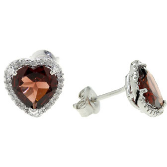 Heart-Shaped Garnet and Diamond Halo Stud Earrings in Sterling Silver