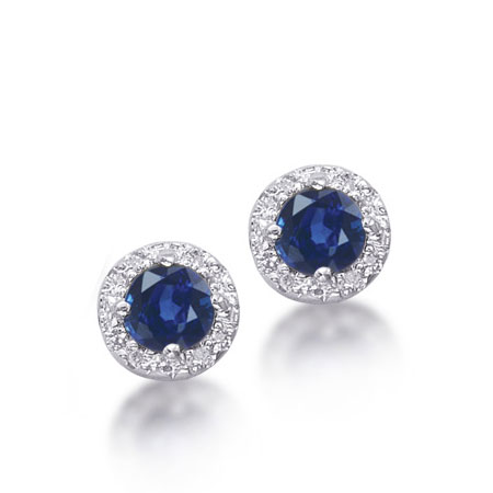 Round Blue Sapphire and Diamond Halo Earrings in Sterling Silver