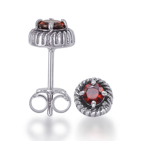 Rustic Sterling Silver Garnet Stud Earrings