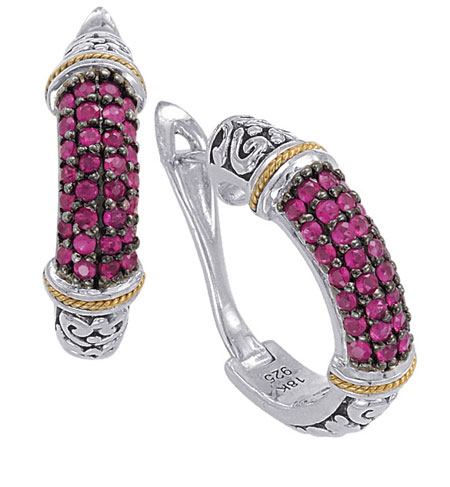 Sterling Silver and Ruby Earrings with 18K Gold Accent