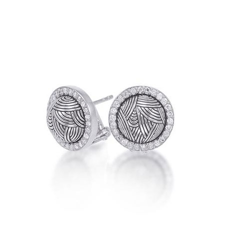 Sterling Silver Contoured Halo Diamond Stud Earrings