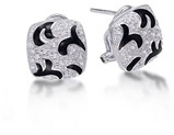 Sterling Silver Diamond Earrings with Black Enamel Accent