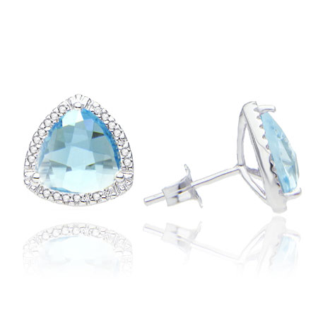 Trillion-Cut Blue Topaz and Diamond Halo Studs in Sterling Silver