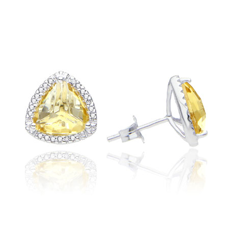 Trillion-Cut Citrine and Diamond Stud Earrings in Sterling Silver