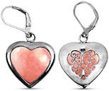 Heart Shape Pink Opal Earrings in Silver