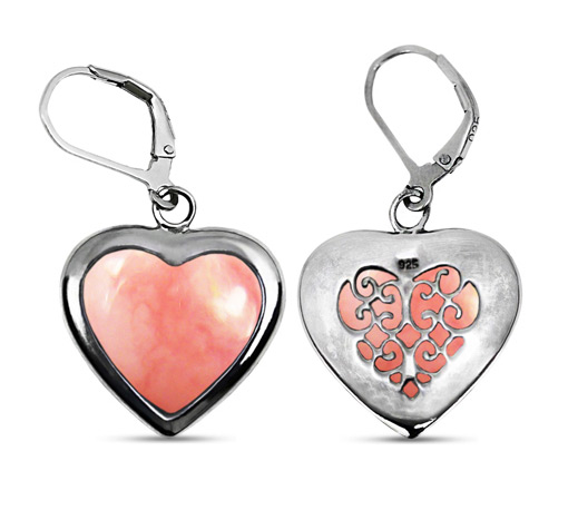 Heart Shape Pink Opal Earrings in Silver
