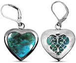 Heart-Shaped Chrysocolla Silver Earrings