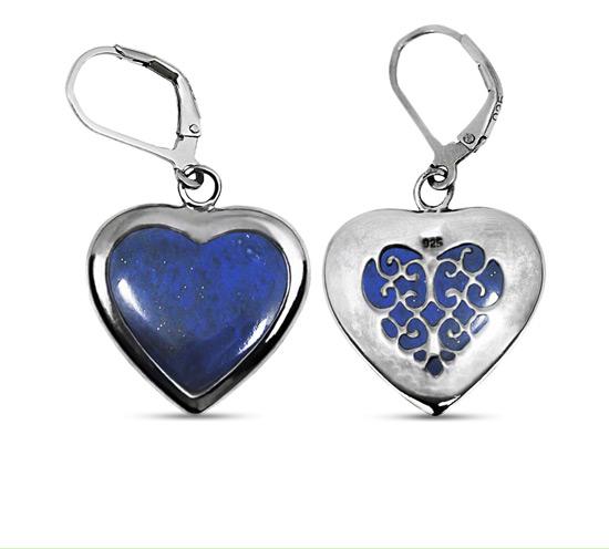 Lapis Lazuli Heart-Shaped Silver Earrings