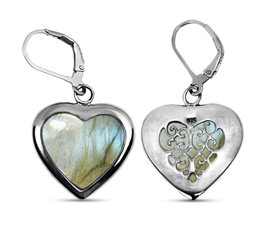 Natural Heart Shaped Labradorite Earrings in Silver
