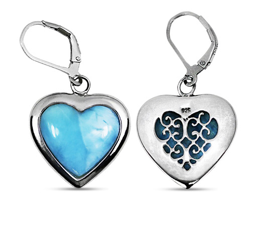 Real Larimar Heart-Shaped Earrings in Silver