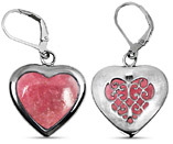Rhodonite Heart Earrings in Sterling Silver