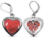 Sponge Coral Heart Earrings in Sterling Silver