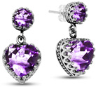 African Amethyst Studs with Heart Dangle Earrings