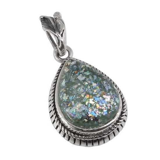 Ancient Antique Roman Glass Pendant in Silver