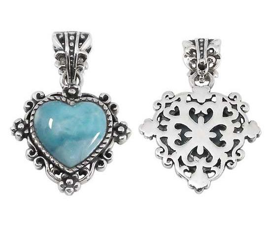 Antiqued Larimar Heart Pendant in Silver
