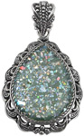 Antiqued Ancient Roman Glass Pendant in Silver