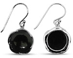 Black Onyx Silver Earrings with Shepherd's Hook