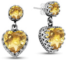 Citrine Studs with Heart-Shaped Dangle Earrings