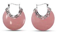 Domed Pink Opal Earrings in Silver