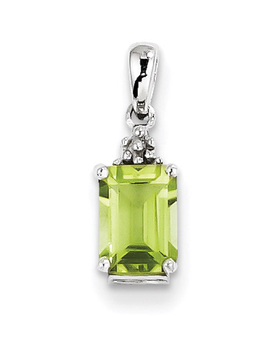 Emerald-Cut Peridot Gemstone Pendant in Sterling Silver