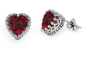 10 x 10mm Garnet Heart Stud Earrings in Silver