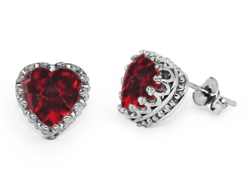 GARNET HEART STUD EARRINGS IN SILVER
