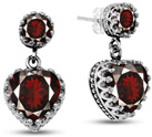 Garnet Stud Earrings with Heart Dangle in Silver