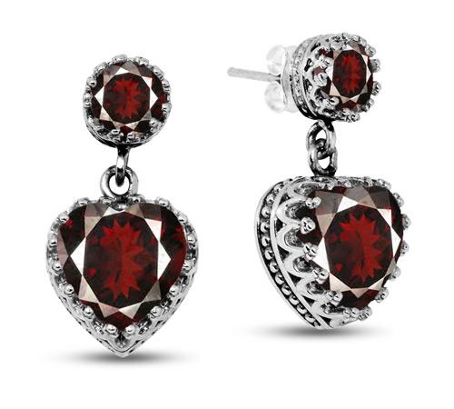 Garnet Stud Earrings with Heart Dangle in Silver