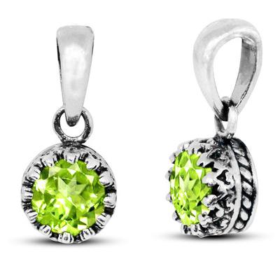 Genuine Green Peridot Gemstone Pendant in Silver