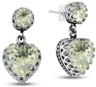 Green Amethyst Heart Dangle Earrings with Studs