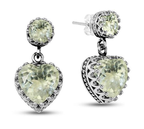 Green Amethyst Heart Dangle Earrings with Studs