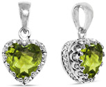 8mm Green Peridot Silver Heart Pendant