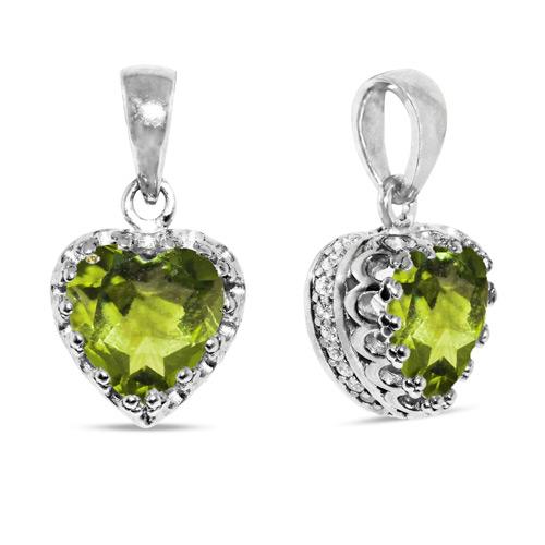 8mm Green Peridot Silver Heart Pendant