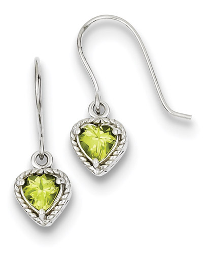 Heart-cut Small Peridot Earrings in Sterling Silver