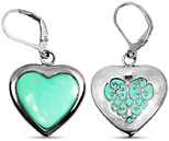Heart Shape Chrysoprase Earrings in Sterling Silver