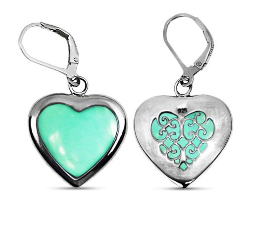 Heart Shape Chrysoprase Earrings in Sterling Silver