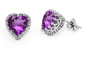 10 x 10mm African Amethyst Heart-Shaped Earrings in Silver