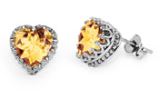 10 x 10mm Heart-Shaped Citrine Earrings, Sterling Silver