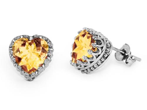 10 x 10mm Heart-Shaped Citrine Earrings, Sterling Silver