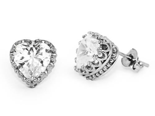 Cubic Zirconia Heart Earrings in Sterling Silver