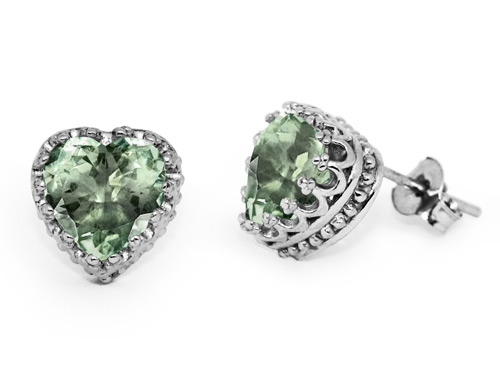 Heart Shape Green Amethyst Stud Earrings in Silver