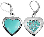Heart Shaped Turquoise Earrings in Sterling Silver