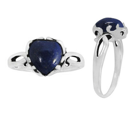 Lapis Lazuli Heart Ring, Sterling Silver